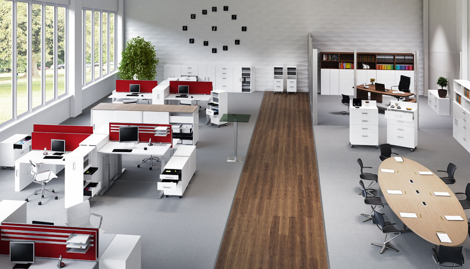 Fittings systems for office and work environments