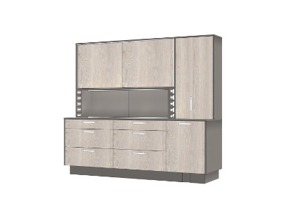 Kitchenette with butcher's block and WingLine L folding door system