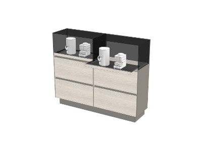 Highboard with locking pull-out shelves