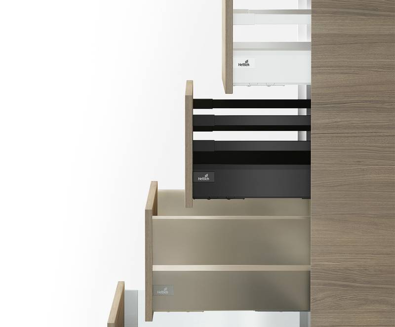The versatile platform concept permits customised solutions – while keeping production lean and efficient on the base of one drawer side profile. Photo: Hettich