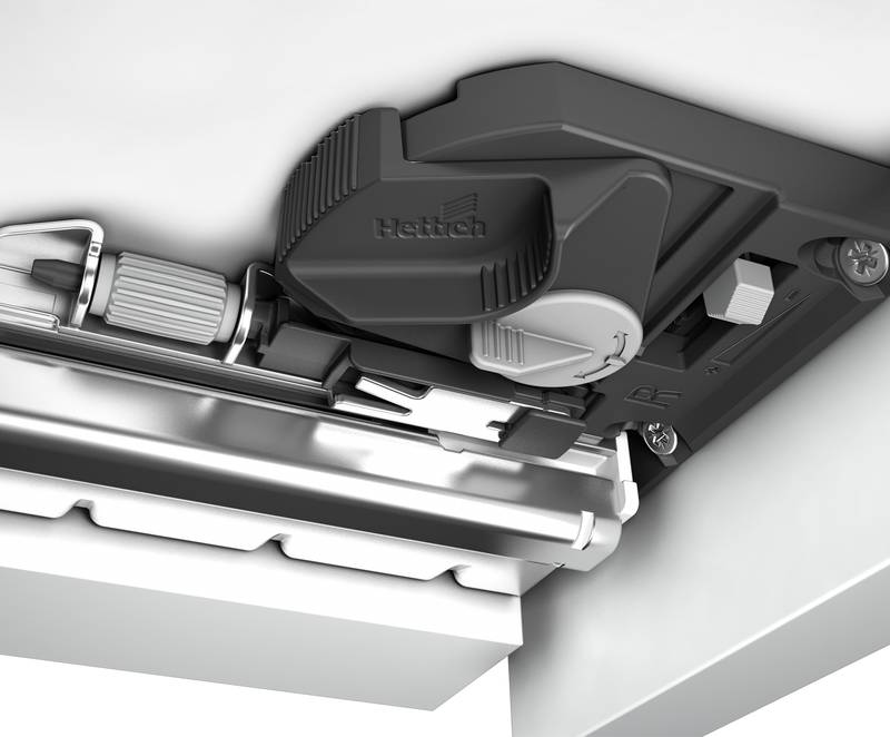 Precision vertical and lateral adjustments can be made at the ergonomic catch without the need for tools. Photo: Hettich