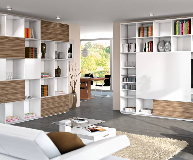 Increasingly, buyers are wanting to include their own creative ideas in furniture. The versatile SlideLine M sliding door fitting lets furniture manufacturers give their customers precisely the leeway to do so. Photo: Hettich