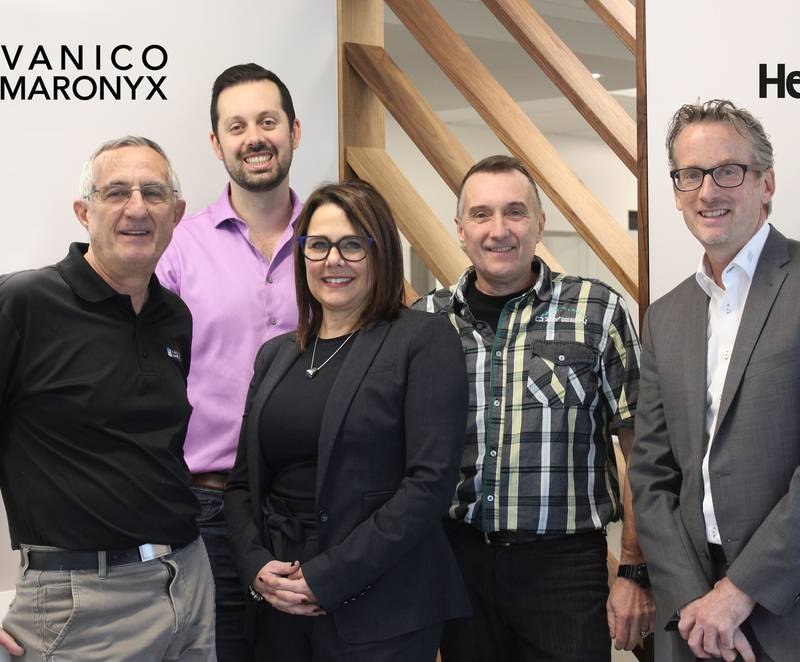 Pictured (from left to right): Robert Gauvreau, President, Vanico-Maronyx; Xavier Provost-Jasmin, Director, Research and Development, Vanico-Maronyx; Natalie Desmeules, Regional Sales Representative, Hettich Canada; Gaétan Gauvreau, cabinetmaker and desi