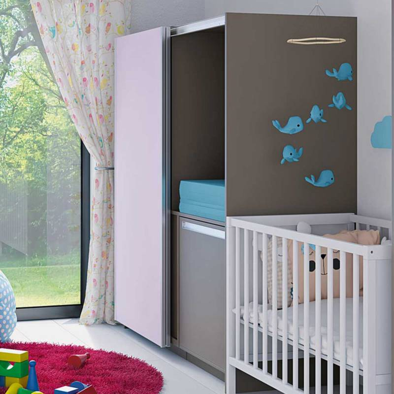 TopLine L sliding door system: space saving cabinet with integrated nappy changing table.
