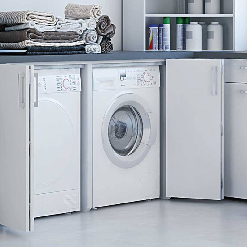 WingLine L folding door system: new ways to provide access to washing machine and dryer.