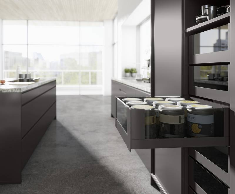Freedom in choosing materials: the AvanTech YOU system features inlays to meet personal design preferences. Whether in glass or other materials – almost anything is possible. Photo: Hettich