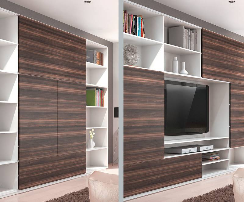 Sliding doors bring flexibility and interest to living room units. SlideLine M gets design moving. Photo: Hettich