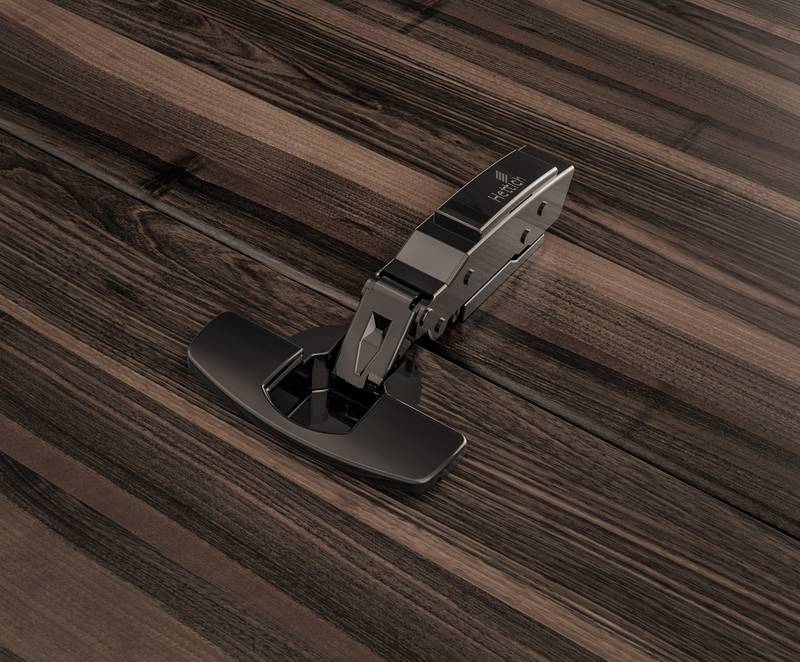 Conspicuously inconspicuous: Sensys in obsidian black on dark timbers and wood decors. Photo: Hettich
