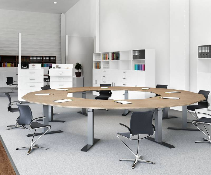 LegaDrive Systems from Hettich is modular in design, also making it perfect for constructing multiple column conference tables. Photo: Hettich