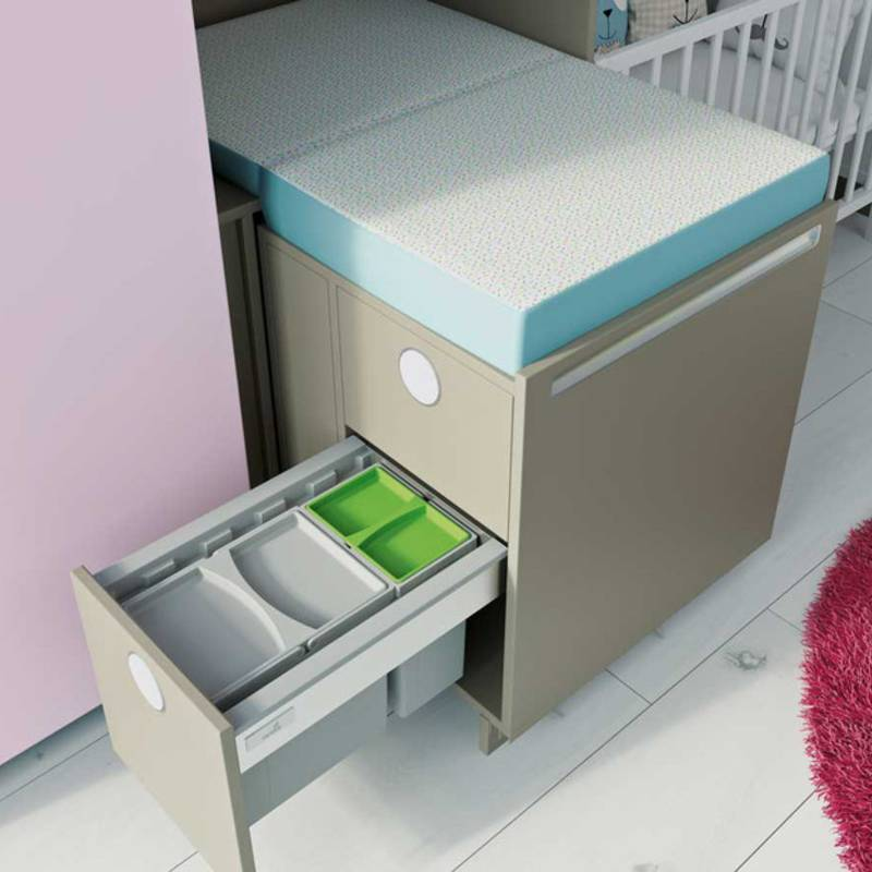 Big Org@Tower Wood organisation system: pull-out nappy changing table, only in view when needed.