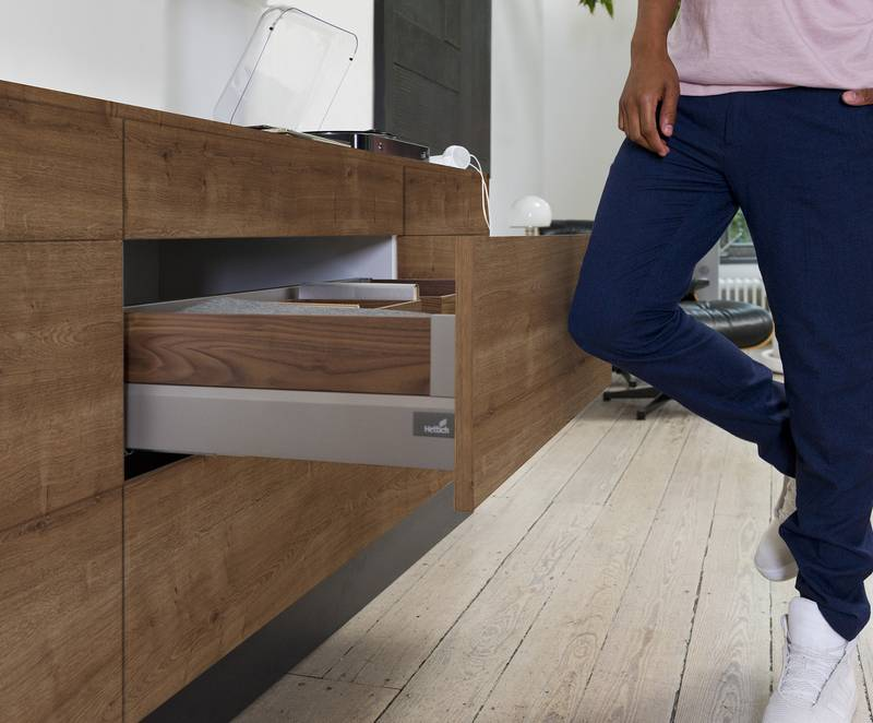 Push to open Silent from Hettich provides practical convenience in handleless furniture design: drawers open and close reliably, gently and quietly. Photo: Hettich