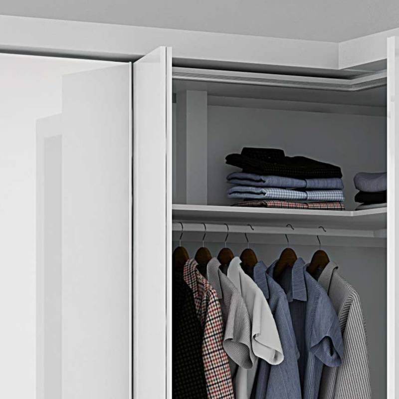 LegaMove lifting column system: the top panel in the cabinet moves easily down. Convenient access.