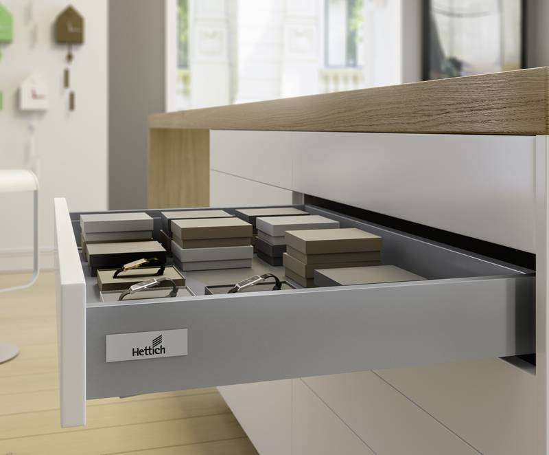 The same drawer side profile is always used for drawers and extensions in all InnoTech Atira options. Photo: Hettich