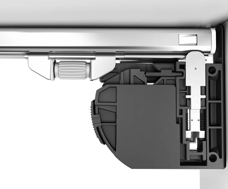 Integrated in the runner, the depth adjuster aligns all drawer fronts. Photo: Hettich